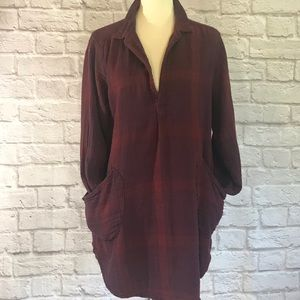 Free People + CP Shades Red/maroon plaid tunic, M